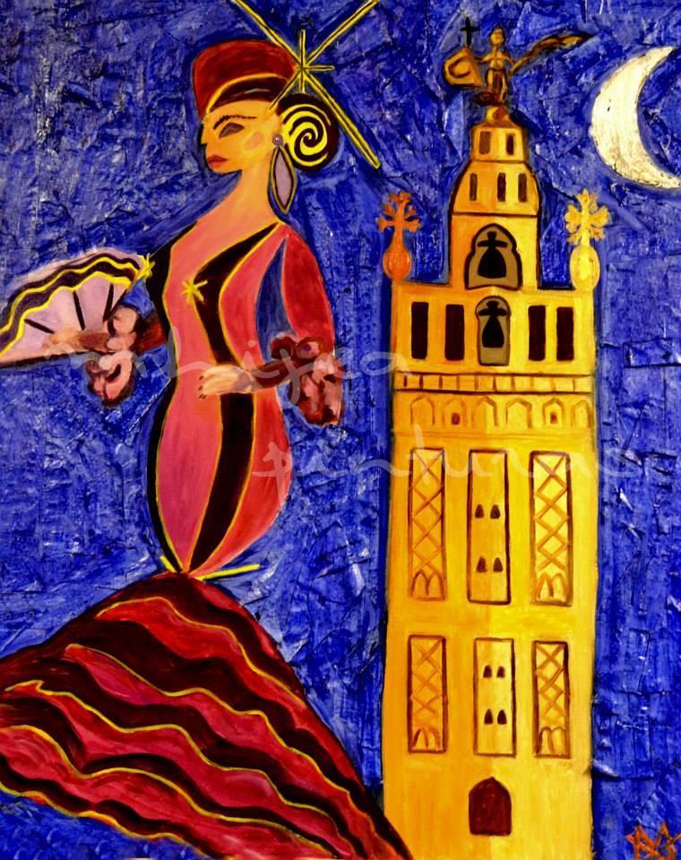 La flamenca y la Giralda, oleo sobre lienzo