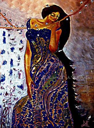 gitana oriental, oleo sobre lienzo