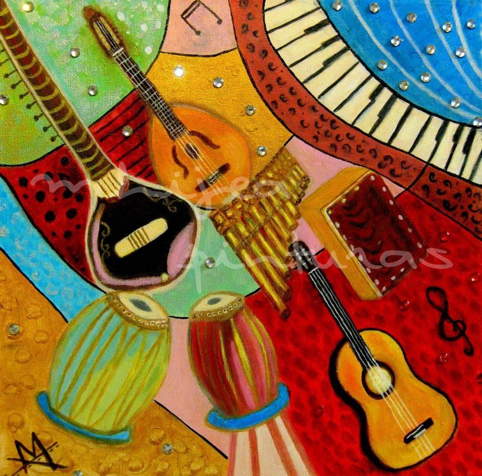 Instrumentos, oleo sobre lienzo